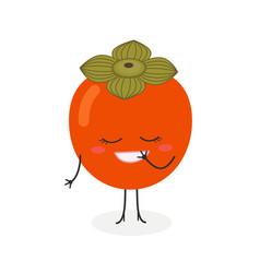 Pretty cartoon persimmon vector