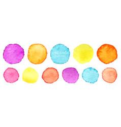 Rainbow watercolor circles set watercolour vector