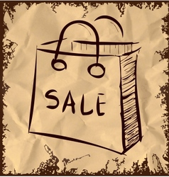 Sale bag icon on vintage background vector image