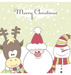 santa reindeer snow man illustration vector image