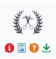 Scissors cut hair sign icon Hairdresser symbol vector image