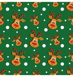Seamless Christmas pattern with deer and vector image