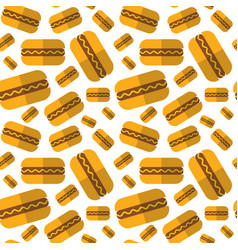Seamless pattern hot dogs ornament oktoberfest vector
