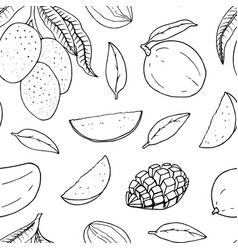 Seamless pattern with mango line drawing vector