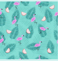 Seamless tropical pattern with pink flamingo vector
