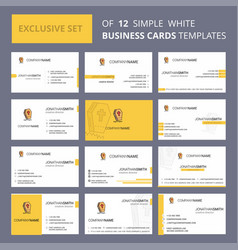 Set of 12 grave creative busienss card template vector