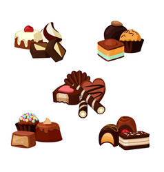 set of cartoon chocolate candy piles vector image