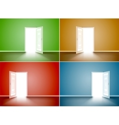Set of opened wood door vector