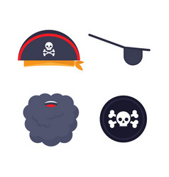 set pirate elements vector image