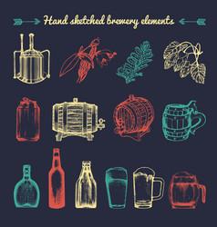 set vintage brewery elements retro vector image