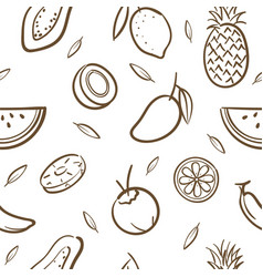 sketch mix tropical fruits seamless pattern vector image