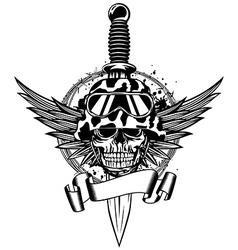 Skull in helmet wings and dagger vector image