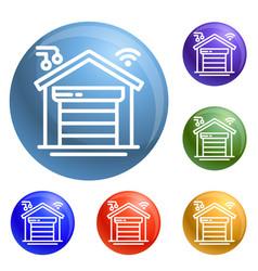 smart garage icons set vector image