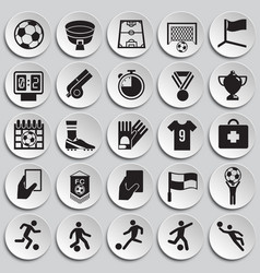 Soccer icons set on pales background for graphic vector