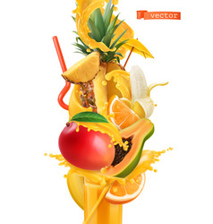 Splash of juice and sweet tropical fruits mango vector