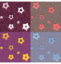 Stars and dots geometric seamless patterns vector image