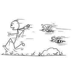 Stickman cartoon of male tourist running away vector