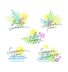 Summer emblems lettering vector