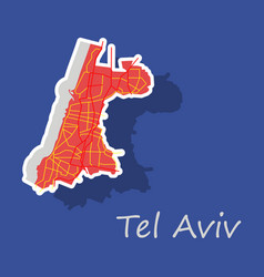 Tel aviv sticker map artprint landmass water and vector