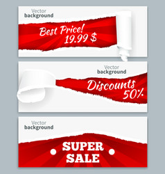 Torn paper sale banners vector