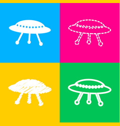 Ufo simple sign four styles of icon on four color vector