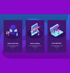 Voice control card isometric set vector