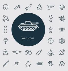 war outline thin flat digital icon set vector image