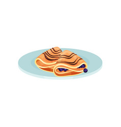 wrapped pancakes with blueberry food for vector image