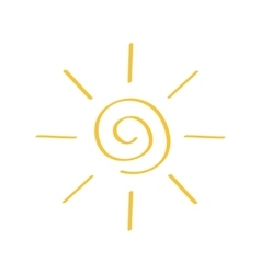 Yellow spiral sun shining sign symbol Swirl shape vector image
