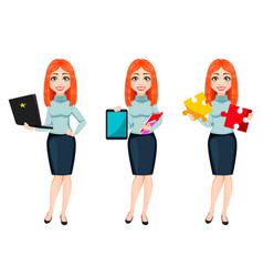 young beautiful redhead business woman vector image