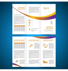 Brochure folder leaflet color yellow line vector