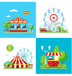 colored amusement park composition vector image
