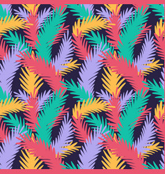 colorful seamless pattern with tropical leaves vector image