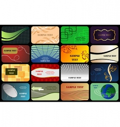set horizontal colorful business card vector image