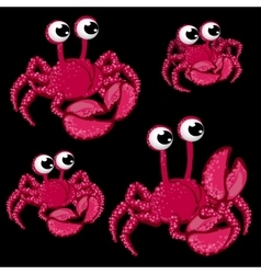 Set pink crabs with big eyes on black background vector image