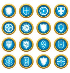 shield frames icons blue circle set vector image vector image