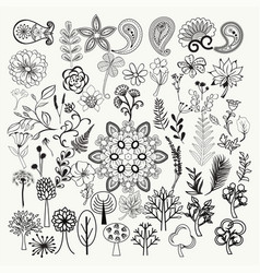 big collection of hand-drawn black and white vector image vector image