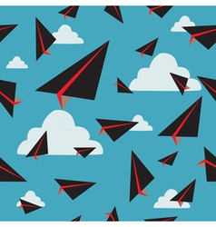 black paper plane fly vector image vector image