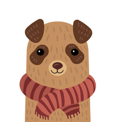 cartoon portrait of a dog in a scarf stylized pet vector image vector image