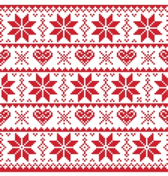 Christmas knitted pattern card - scandynavian vector image