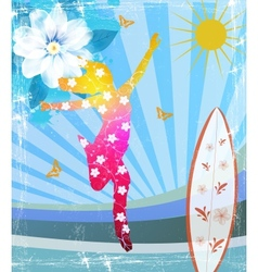 Girl flowers pattern vector image