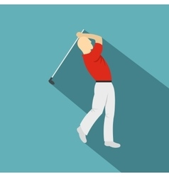 Golf player in a red shirt icon flat style vector