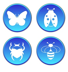 Insects round button flat icons set vector image