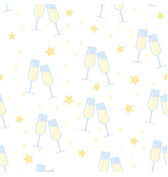 seamless pattern glasses of champagne vector image