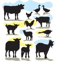 set farm animals vector image