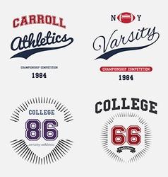Varsity College Print vector image vector image