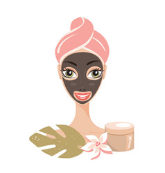 beautiful happy woman with face mask spa skin care vector image