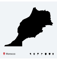 High detailed map of Morocco with navigation pins vector image vector image