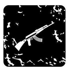 Kalashnikov machine icon grunge style vector image