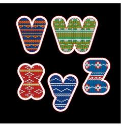 knitted alphabet - VWXYZ vector image